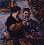 Self-Portrait with Wife. 1923